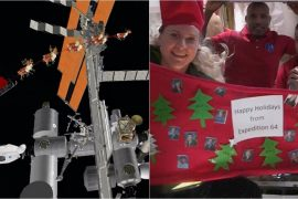 Watch: When the astronauts on the International Space Station celebrate Christmas in space and Santa visits them