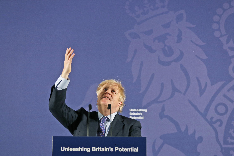 Boris Johnson delivers a speech after Brexit