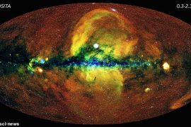 Yellow clouds seen rising from the center of the Milky Way have made experts scratching their heads for decades.