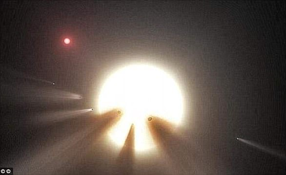 The star, known as KIC 8462852, is 1,400 light-years away and has baffled astronomers since its discovery in 2015 (artist's impression)