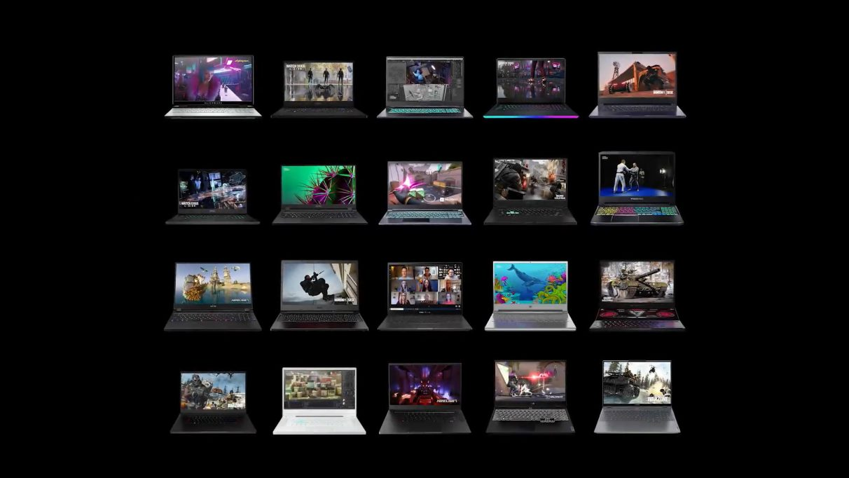 A collection of Nvidia RTX 30 gaming laptops