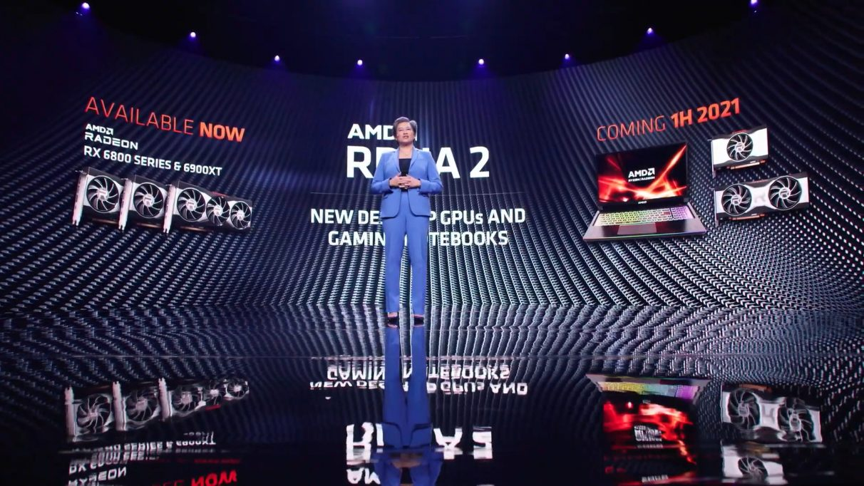 Photo of AMD Dr. Lisa Sue during her keynote speech at CES 2021.