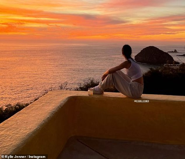 Kylie was hanging out with older sister Kendall: she's featured in stories of Kylie perched on the balcony of the place she picked them for the day