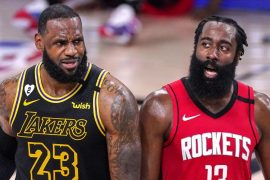 """LeBron James laughs at his """"reaction"""" to James Harden's trade"""