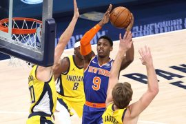 The Nicks uses a balanced effort to cut the Pacers to a gritty win on the road