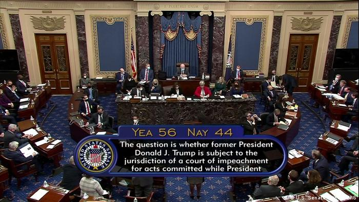 Announcing the results of the US Senate vote on the constitutionality of Donald Trump's impeachment procedures