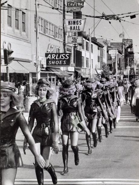 Ulm Gard girls march in Hamilton Industrial City.