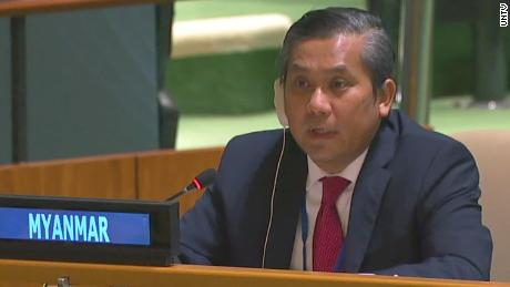 Myanmar's ambassador to the United Nations, Kyaw Mo Tun, addresses the General Assembly on February 26th.
