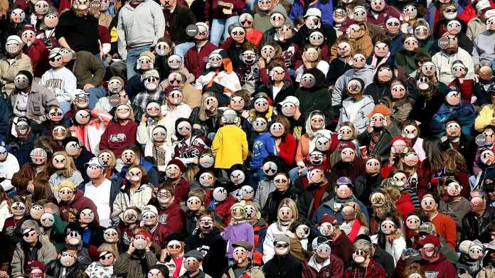 Crowd with masks