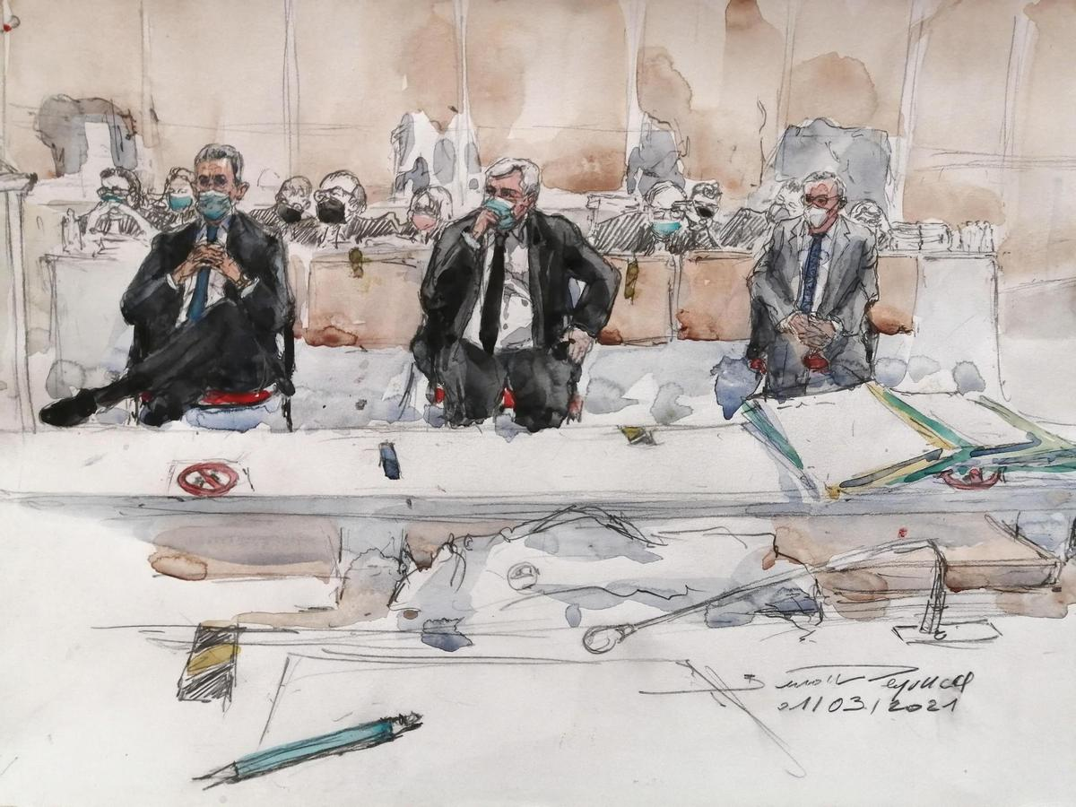 Court illustration with Nicolas Sarkozy (left) and the other accused Thierry Herzog (center) and Gilbert Seibert (right).
