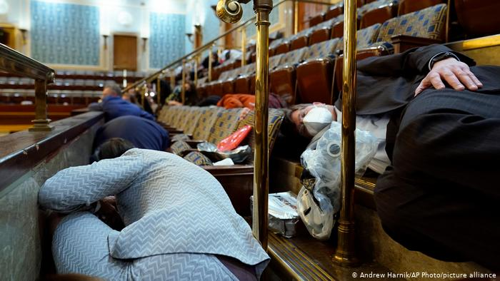 People sheltering in the US House of Representatives Visitor Gallery