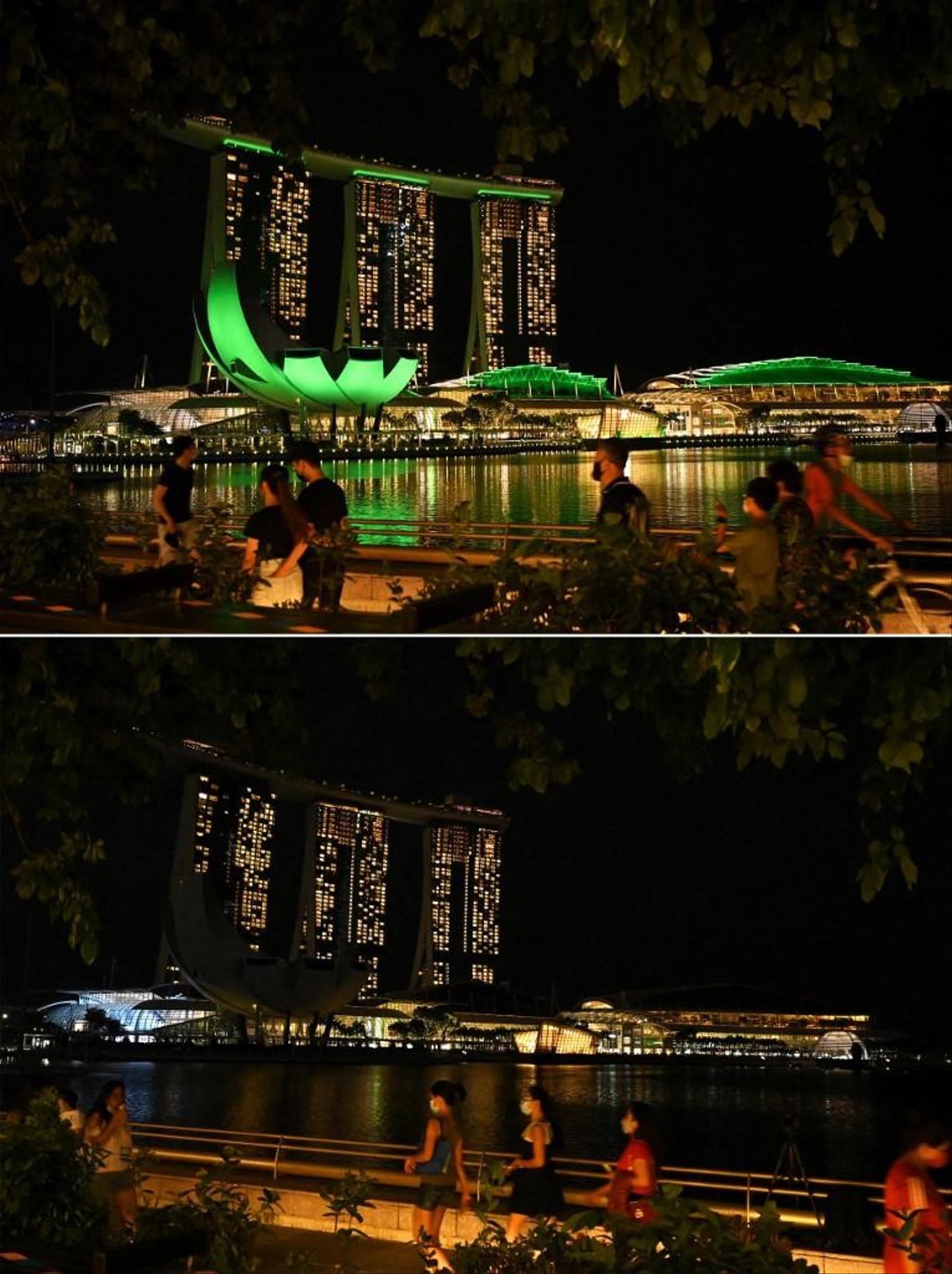 Marina Bay in Singapore before and during Earth Hour.  (March 21, 2021)