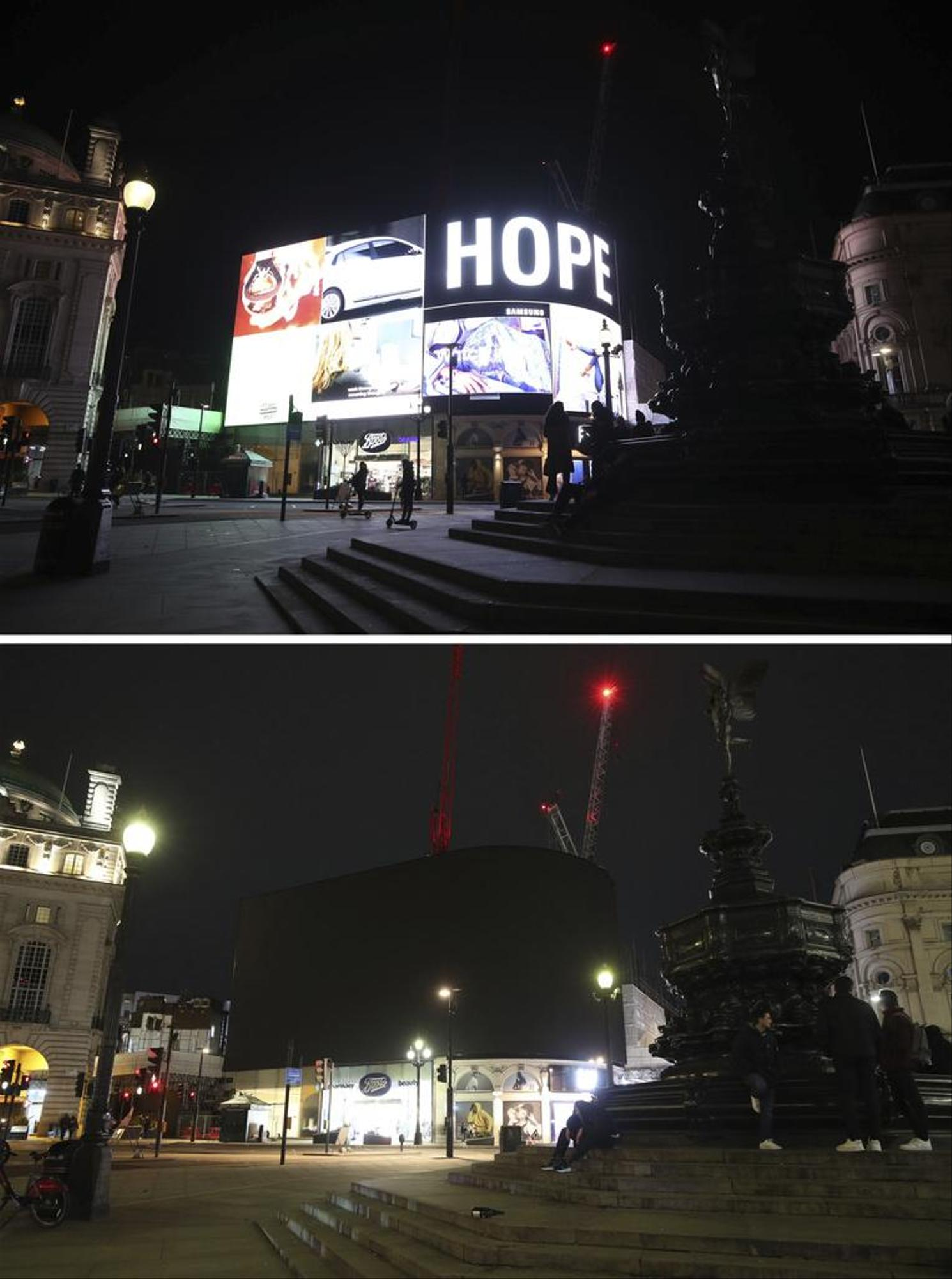 No hope anymore.  Or maybe yes?  The lights went out on Piccadilly Circus in London.  (See more photos below.)