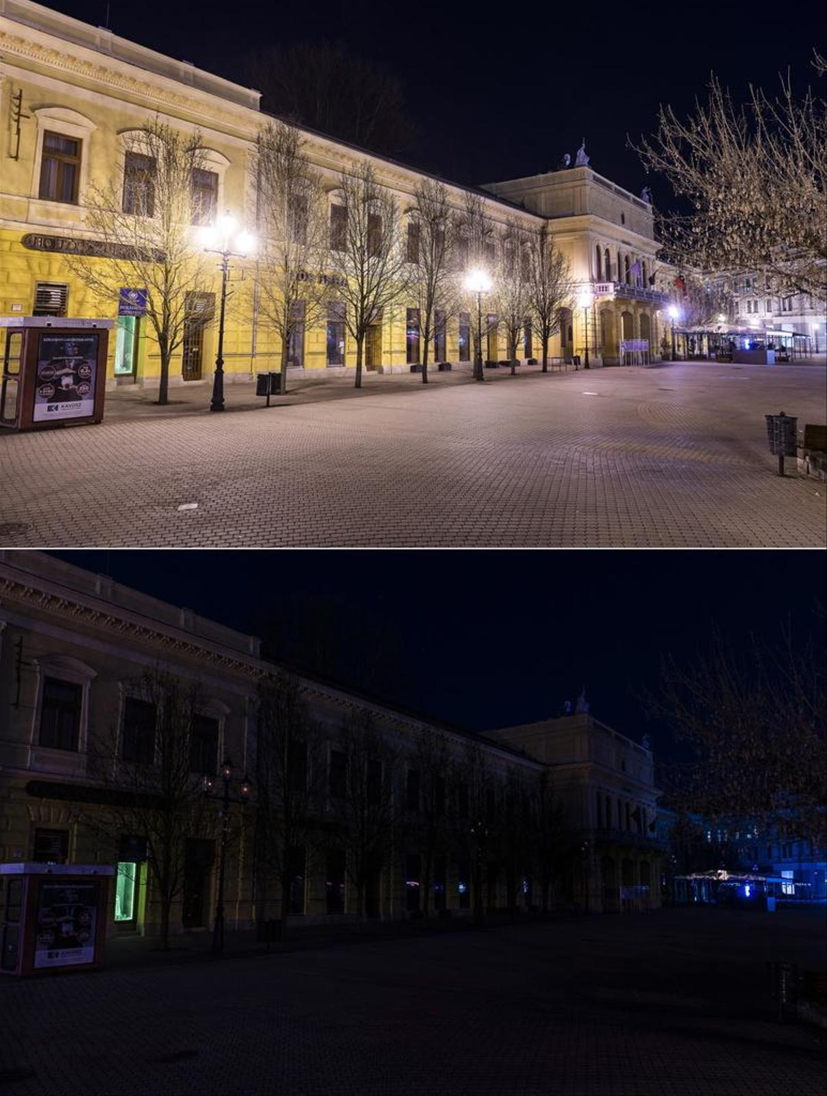 Flood light takes a one-time break in Nyiregyhaza, Hungary.