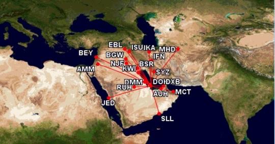 Qatar Airways Streckennetz Middle East