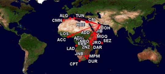 Qatar Airways Streckennetz Africa
