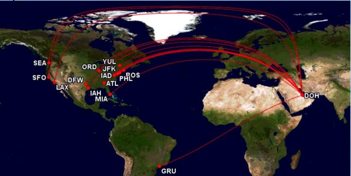 Qatar Airways Streckennetz North / South-America