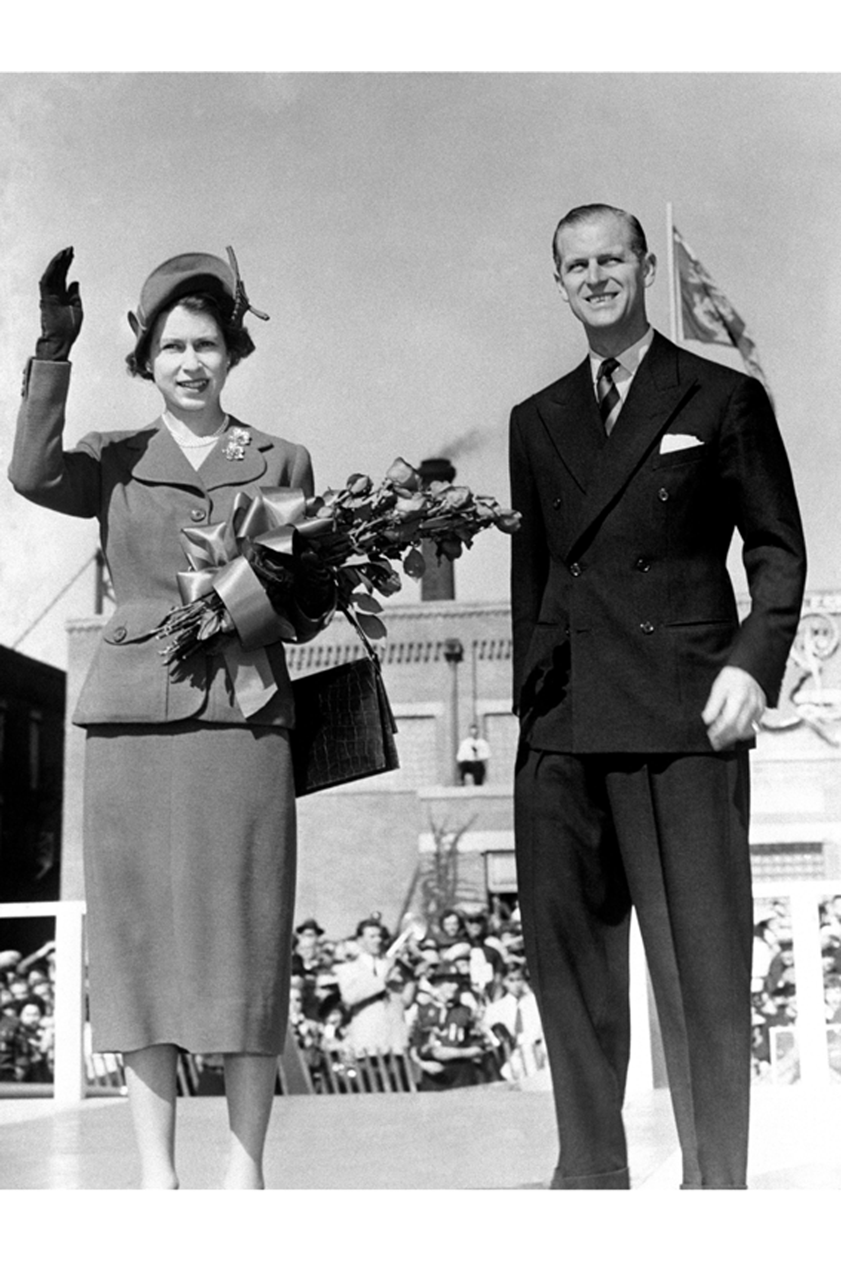 Wide cut and double button: a typical suit that Prince Philip wore in the 1950s.  Image credit: Getty Images