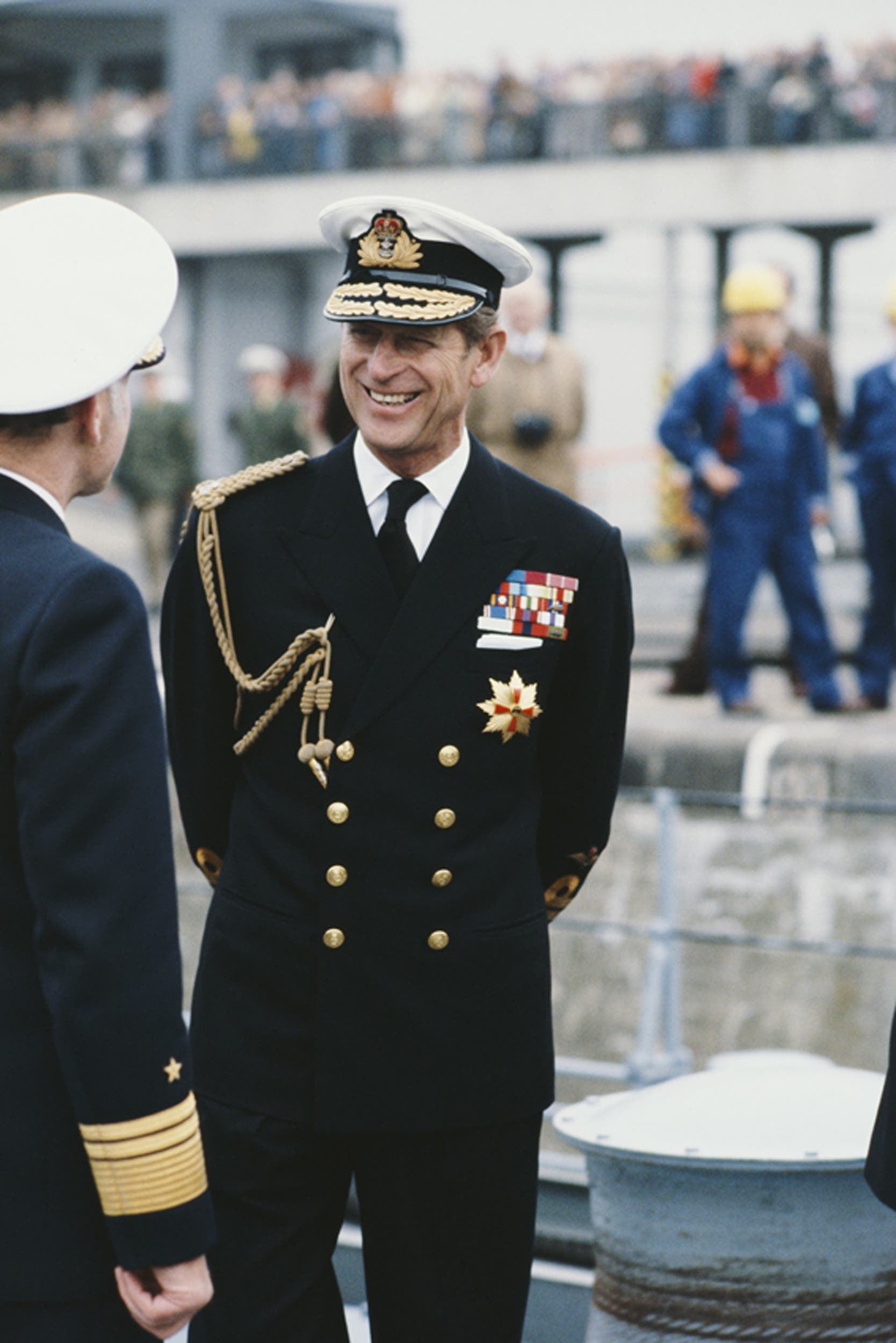 Sewing house Gieves & Hawkes was in charge of Prince Philip's navy uniform (here on a state visit to Bremerhaven in 1978).  Image credit: Getty Images