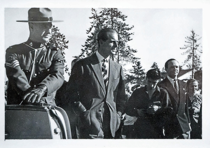 Ingborg Duchel (right) met Prince Consort, Duke of Edinburgh (second from left), during an official visit to Canada in 1954. The 24-year-old can be seen in the black and white photo on the far right.  Photos: private / gki