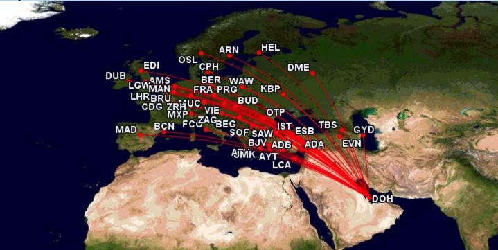 The Qatar Airways network in Europe