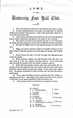 The Cambridge Rules (pictured is an 1856 edition) goes down in history as the first set of rules for football.