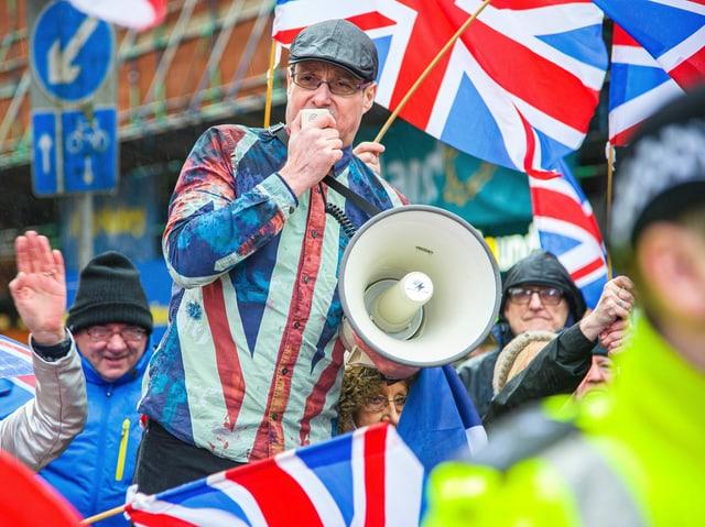 Scotsman in Union Jack shirt