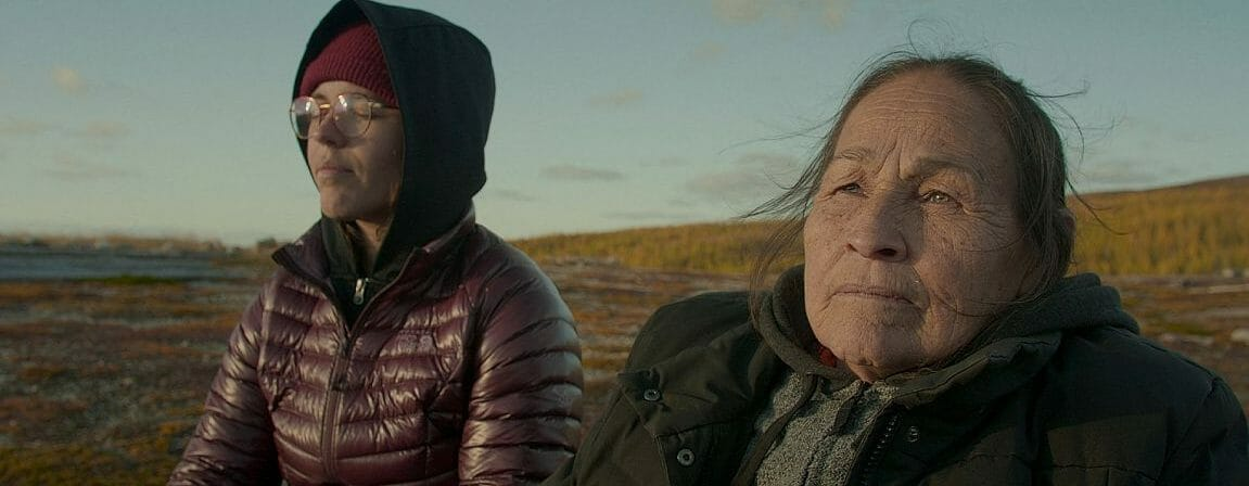 Marie-Andre Geel (left) and Josephine Bacon visit the tundra, the land of their ancestors, the land of the elders, the land of papacasque.  (Image: Maison4tiers)