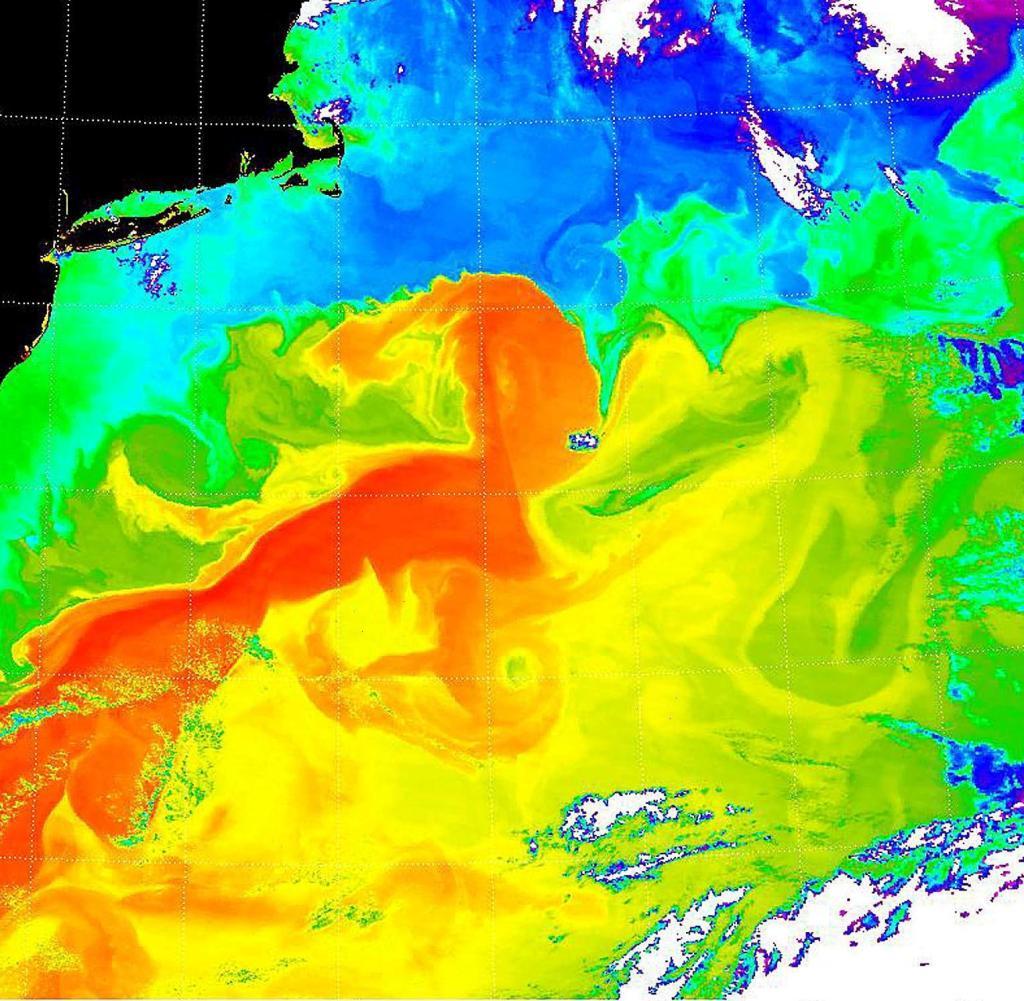 Heat absorption in the Gulf Stream in 2001. Shown in black: US East Coast