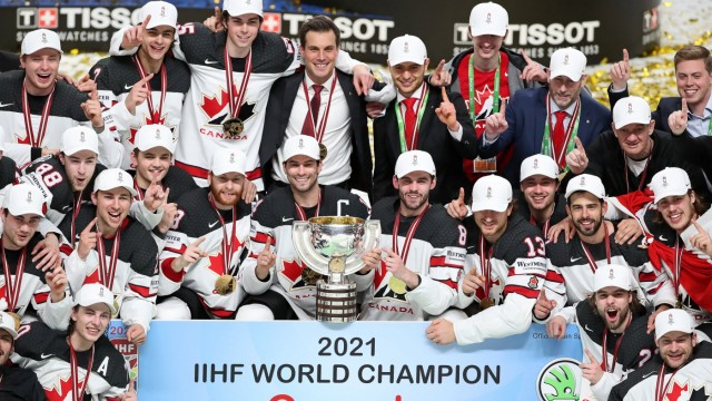 RIGA, Latvia - June 6, 2021: Canadian players stand with their trophy as they celebrate victory over Finland in 202