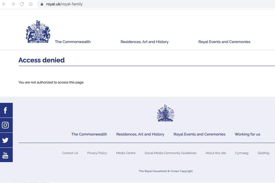 This (sub) site of the Royal Family is not accessible.