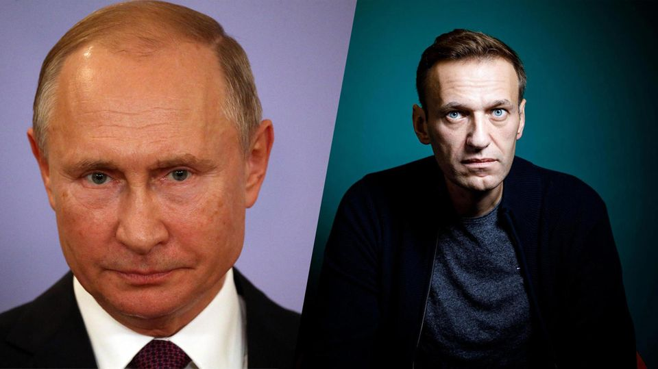 The indomitable opposition politician Alexei Navalnyj, and the autocrat President Vladimir Putin.