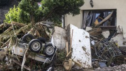 Rubble in front of a townhouse in the Ahrweiler district after a storm and flood.  The flood destroyed at least six homes.  (DPA/Harald Teitel)