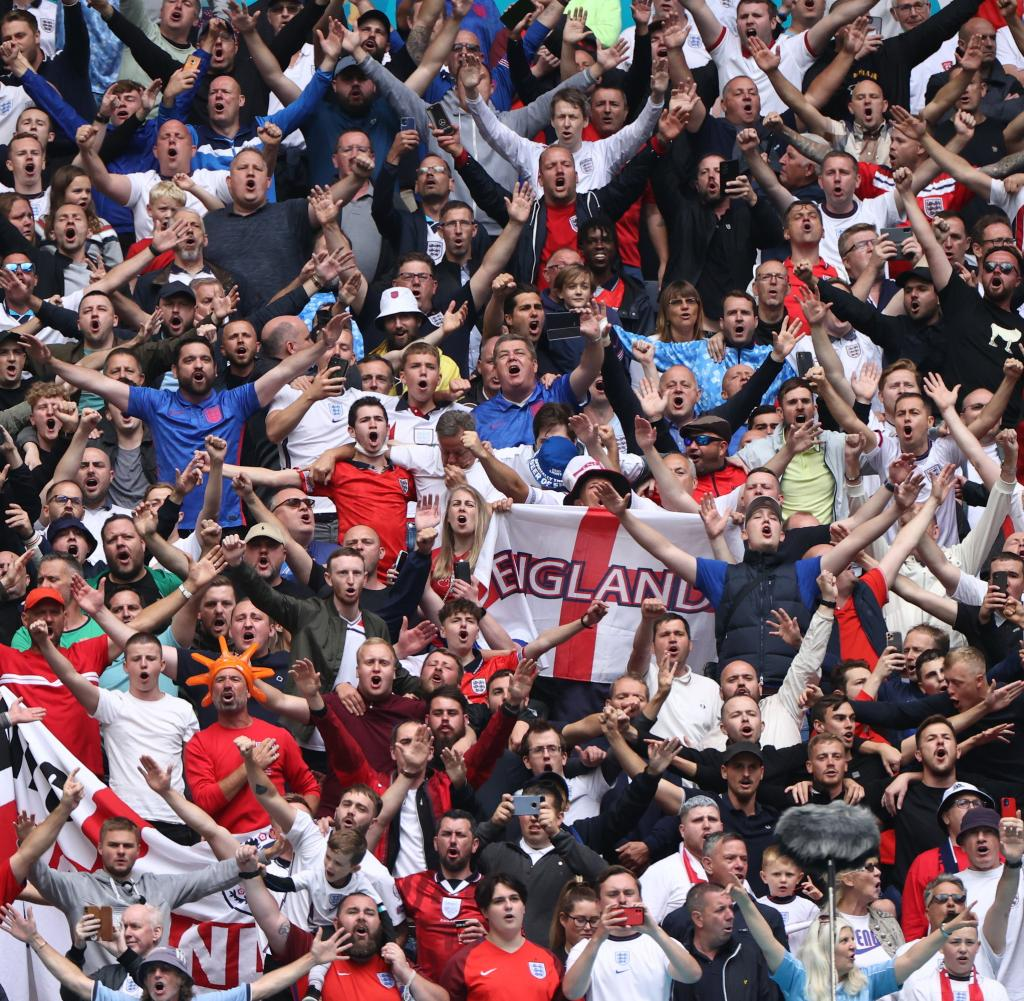 England fans celebrate before the match - some couldn't hide their malice after the win (avatar)