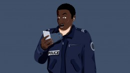 The illustration shows a black French police officer looking in horror at his smartphone, with a white hand sticking out of it and suffocating him.  (Radio Arte / Zaven Najjar)