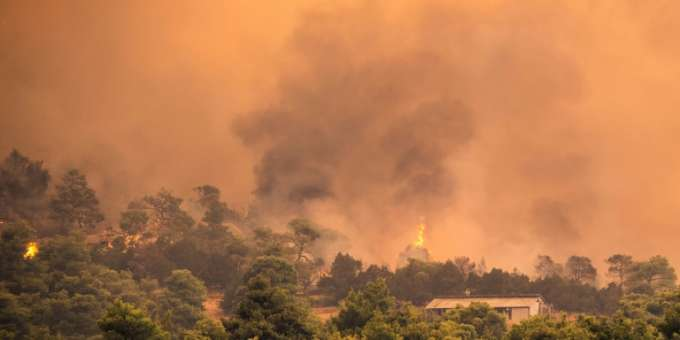 A forest fire on the island of Evia near Athens.