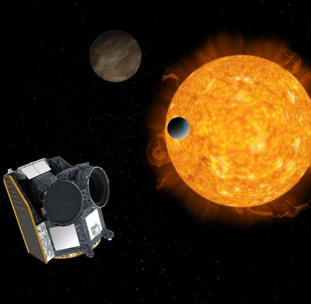 HANDOUT - 09.12.2019, ---: Artistic impression of Khufu (characterizing an exoplanet moon), an exoplanet moon, with an exoplanet system in the background.  (To dpa «New satellite Esa« Cheops »examines distant planets») Image: ESA / dpa - ATTENTION: For editorial use only in connection with current reports and only with credits mentioned above +++ dpa-Bildfunk ++