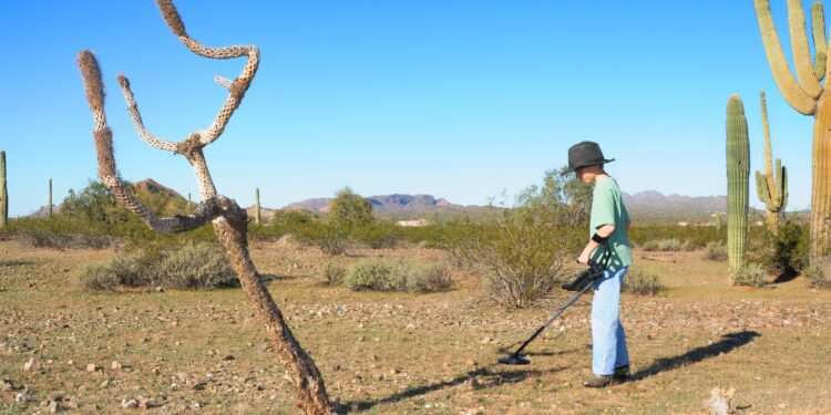 A boy searches the desert with a metal detector.