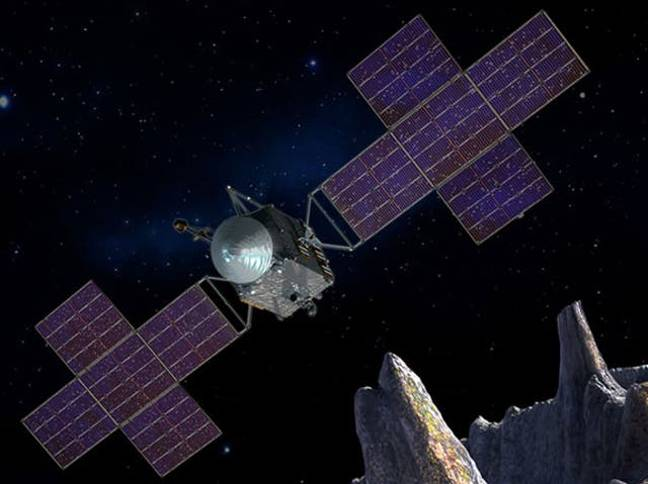 Artistic impression of a spaceship sent to Psyche 16. Credit: NASA