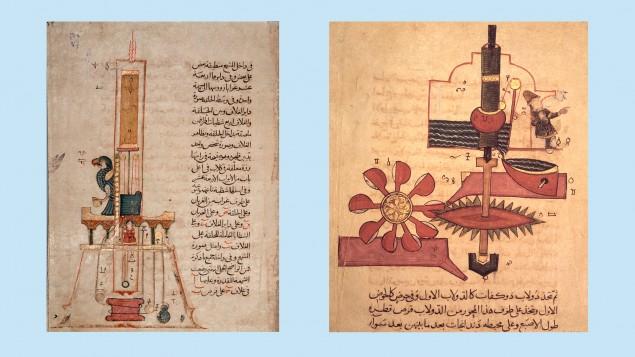 College two clock diagrams for Al-Jaziri.  (Deutschlandradio / picture alliance / akg-images / Werner Forman)