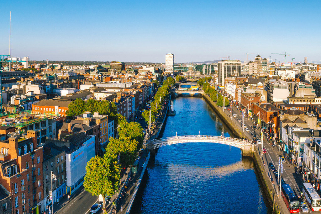 Aerial view of Dublin with the Ha'penny Bridge during sunset in Dublin, Ireland