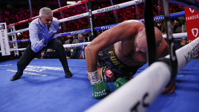 Tyson Fury also climbed onto the board during the fight and was counted by referee Russell Mora.